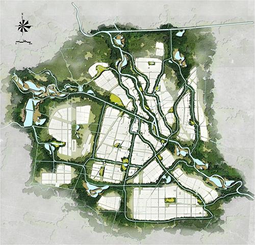 园林手绘湖泊平面图